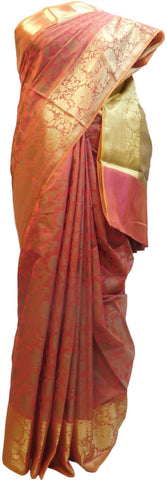 Pink Traditional Designer Wedding Hand Weaven Pure Benarasi Zari Work Saree Sari With Blouse BH107E