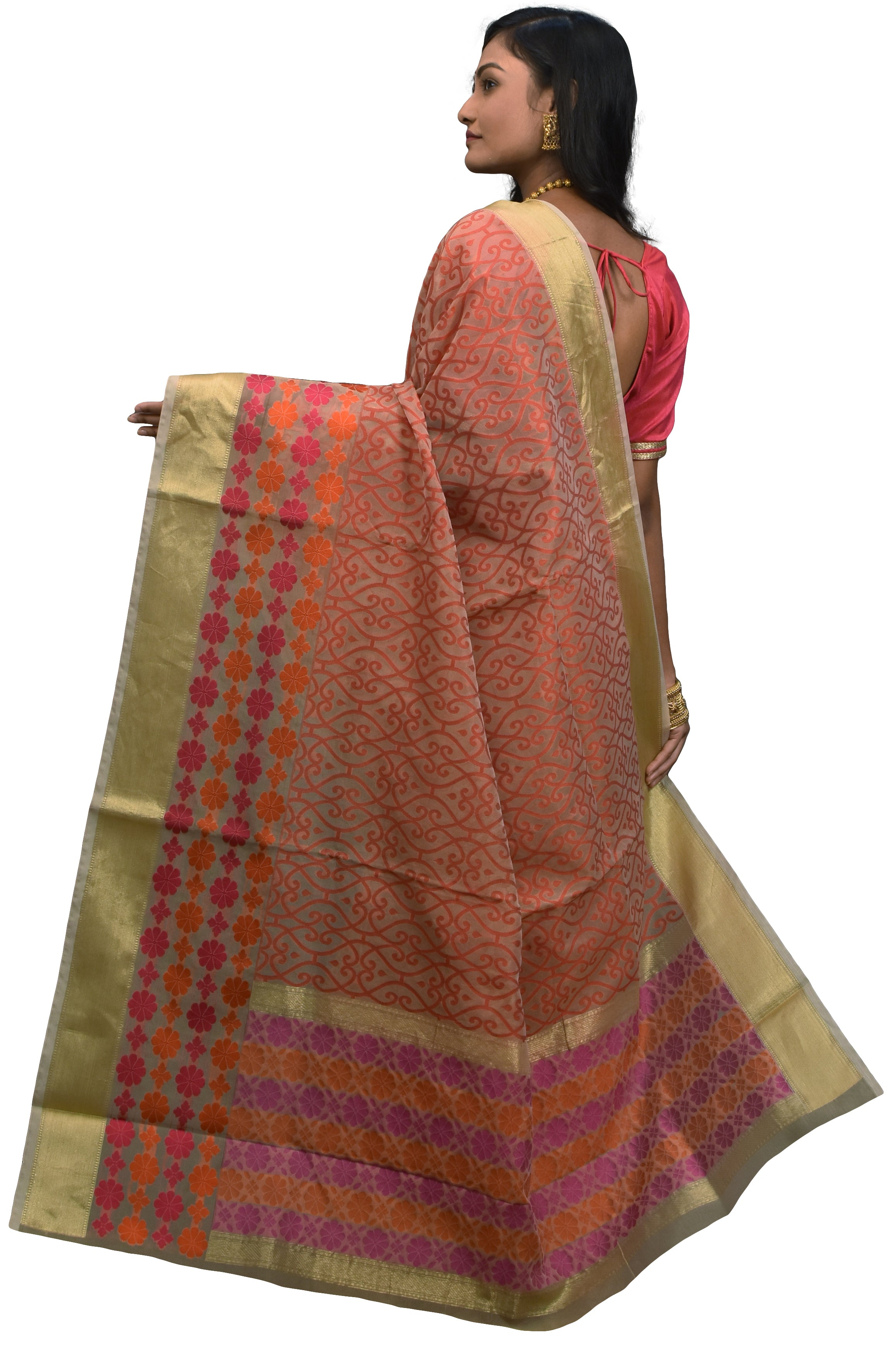 Beige & Red Traditional Designer Wedding Hand Weaven Pure Benarasi Zari Work Saree Sari With Blouse BH10B