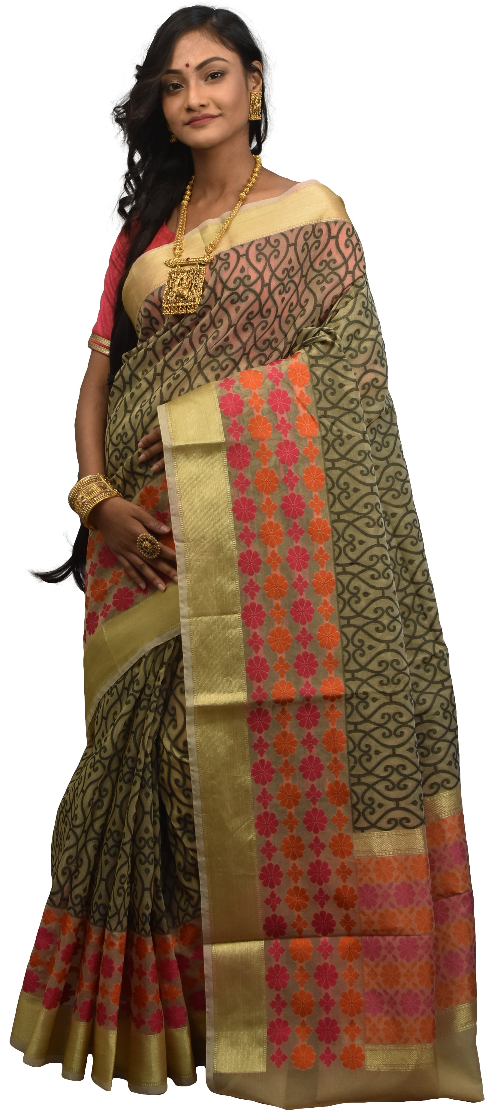 Beige & Black Traditional Designer Wedding Hand Weaven Pure Benarasi Zari Work Saree Sari With Blouse BH10C
