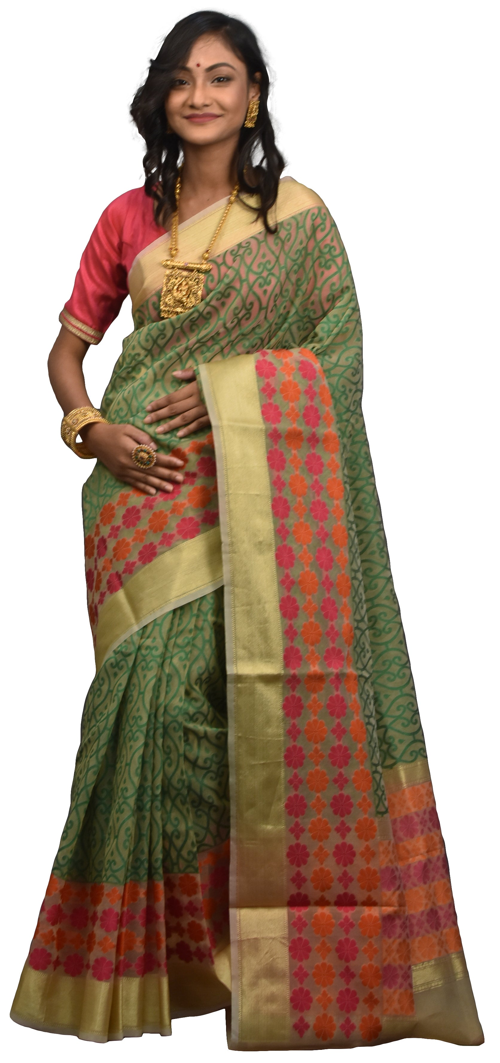 Beige & GreenTraditional Designer Wedding Hand Weaven Pure Benarasi Zari Work Saree Sari With Blouse BH10G