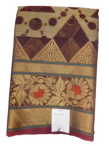 Coffee Brown Traditional Designer Wedding Hand Weaven Pure Benarasi Zari Work Saree Sari With Blouse BH13A
