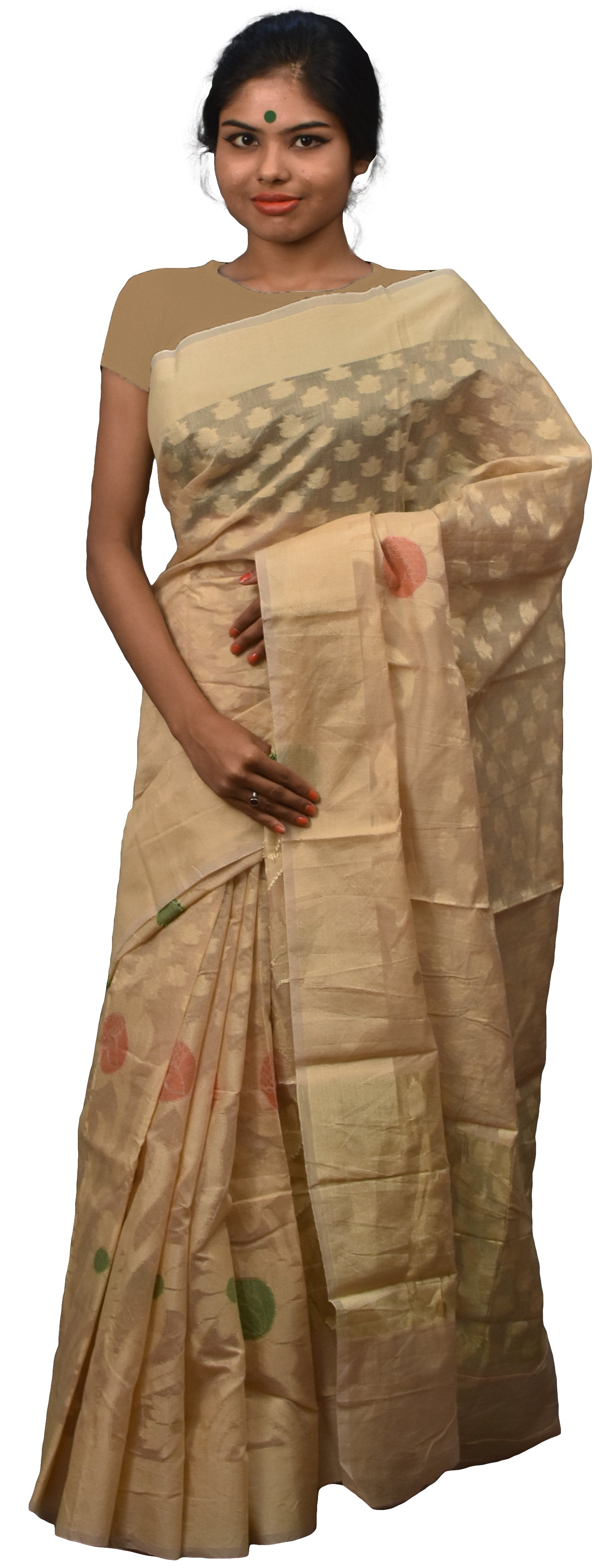 Beige Traditional Designer Wedding Hand Weaven Pure Benarasi Zari Work Saree Sari With Blouse BH1D