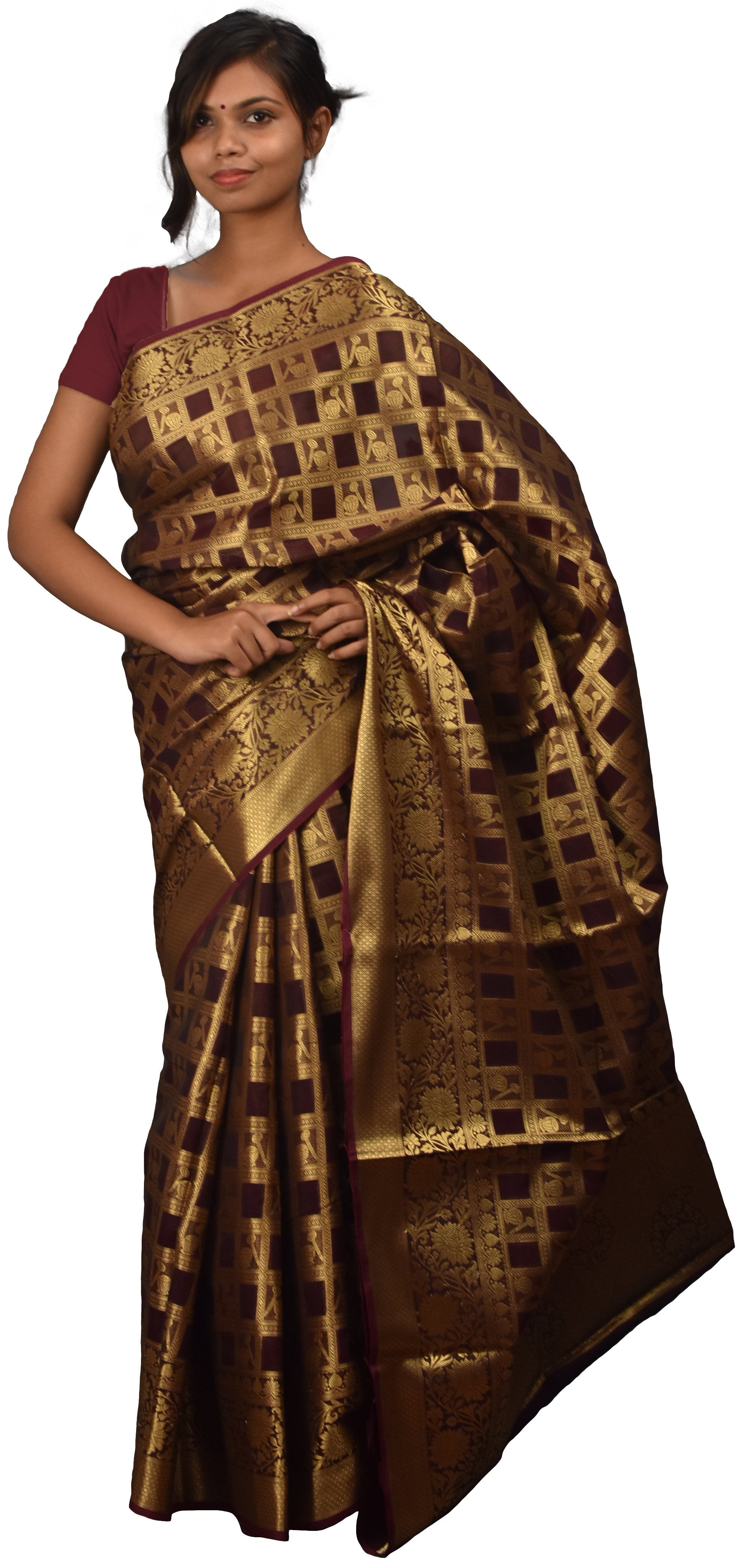 Coffee Brown Traditional Designer Wedding Hand Weaven Pure Benarasi Zari Work Saree Sari With Blouse BH5C