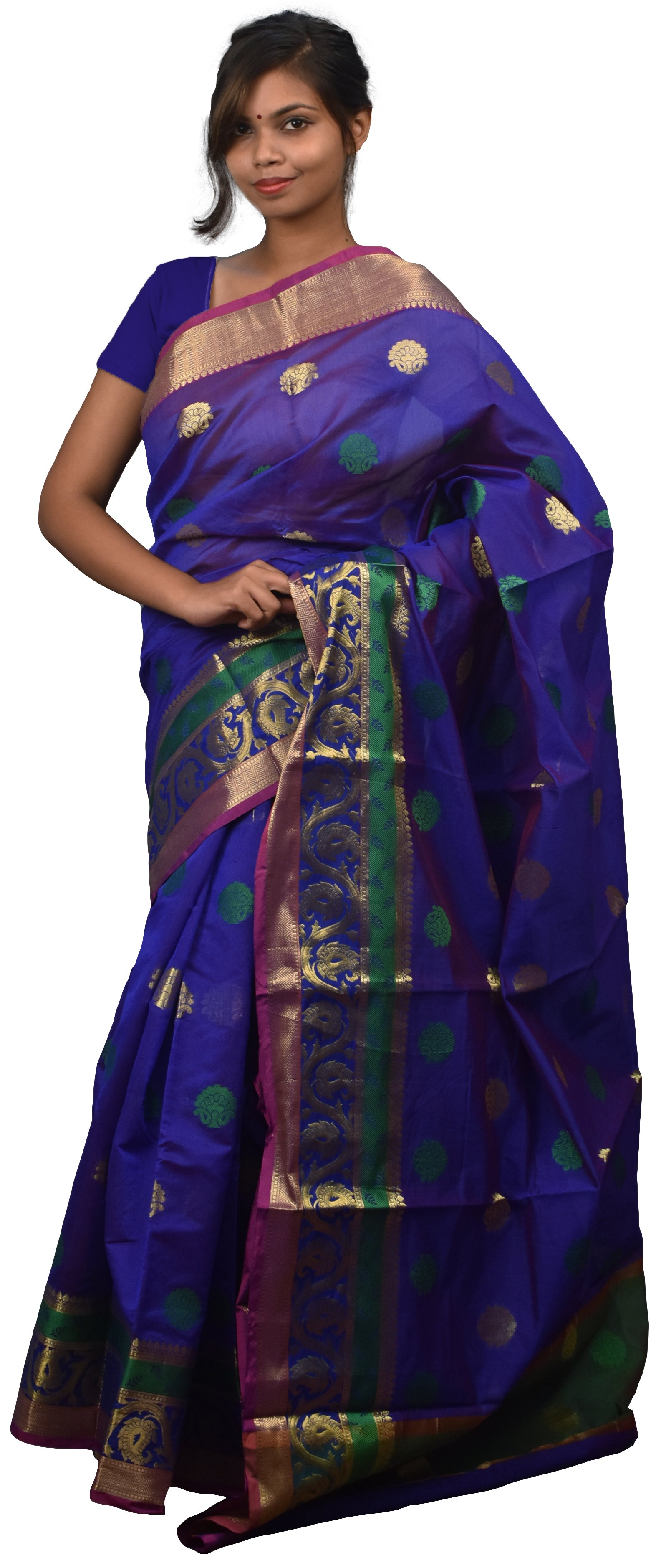Blue Traditional Designer Wedding Hand Weaven Pure Benarasi Zari Work Saree Sari With Blouse BH8A