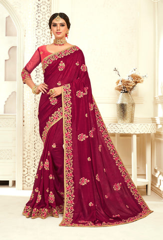 Burgundy Poly Silk Bridal Designer Saree Sari