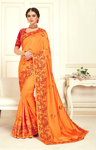 Orange Poly Silk Bridal Designer Saree Sari
