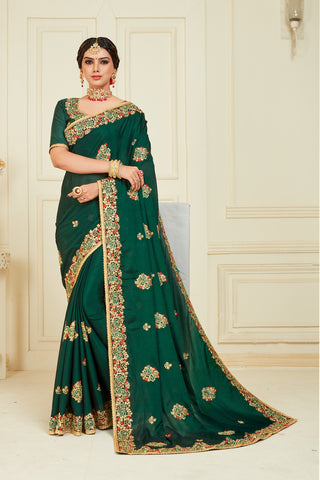 Green Poly Silk Bridal Designer Saree Sari