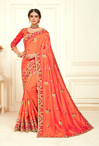 Peach Poly Silk Bridal Designer Saree Sari
