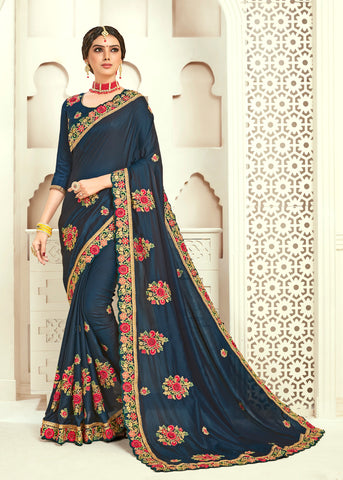 Navy Blue Poly Silk Bridal Designer Saree Sari