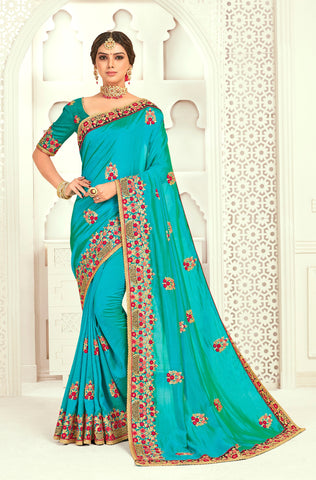 Blue Poly Silk Bridal Designer Saree Sari
