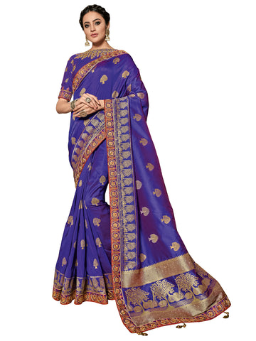 Blue Jacquard Silk Heavy Work Banarasi Saree Sari