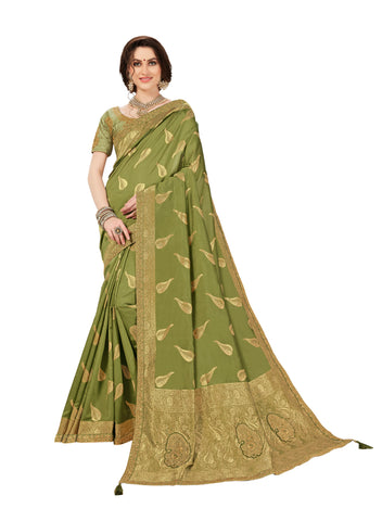 Green Jacquard Silk Heavy Work Banarasi Saree Sari