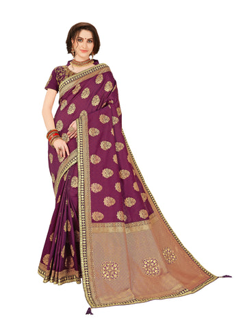 Purple Jacquard Silk Heavy Work Banarasi Saree Sari