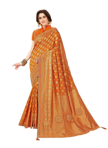 Orange Jacquard Silk Heavy Work Banarasi Saree Sari