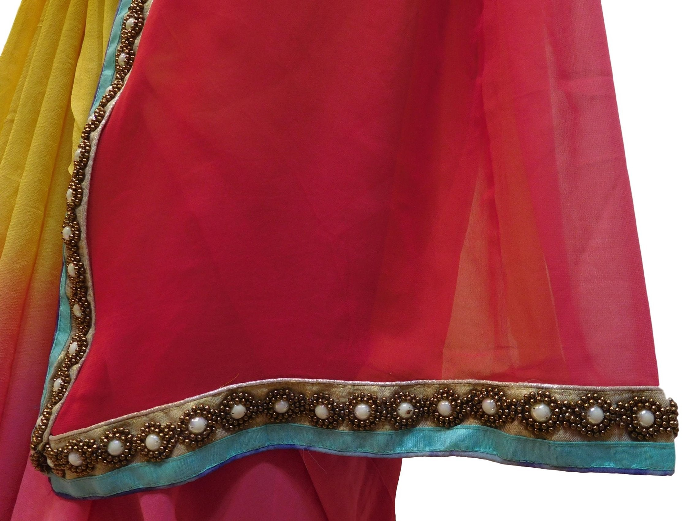 Red & Yellow Designer PartyWear Georgette (Viscos) Pearl Beads Hand Embroidery Work Saree Sari