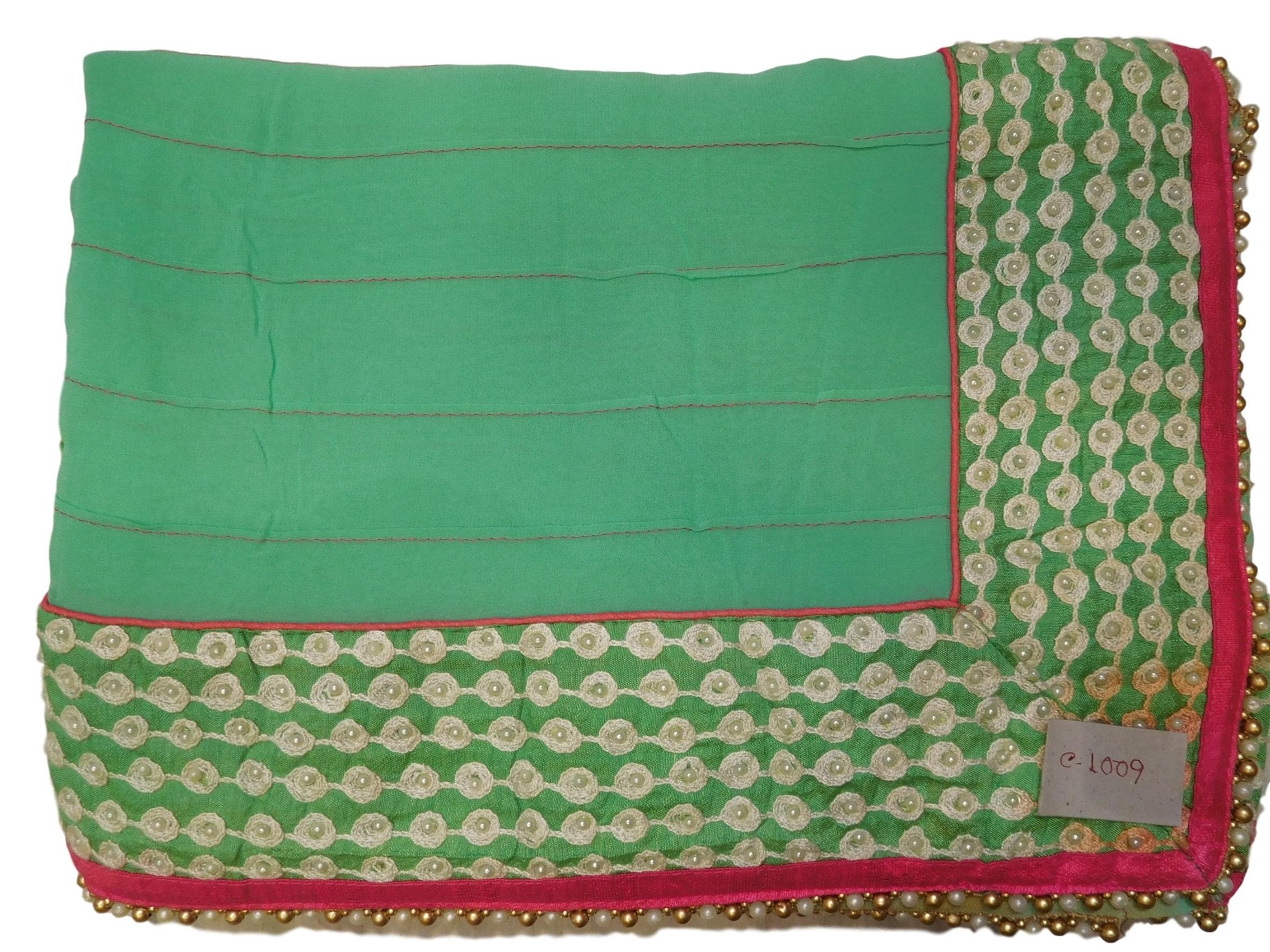 Turquoise Designer PartyWear Georgette (Viscos) Pearl Thread Hand Embroidery Work Saree Sari