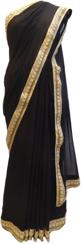 Navy Blue Designer PartyWear Georgette (Viscos) Pearl Beads Bullion Hand Embroidery Work Saree Sari