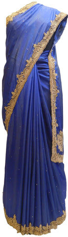 Blue Designer PartyWear Silk Beads Bullion Cutdana Stone Hand Embroidery Work Saree Sari