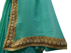 Turquoise Designer PartyWear Georgette (Viscos) Pearl Beads Bullion Hand Embroidery Work Saree Sari