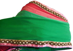 Pink & Green Designer PartyWear Georgette (Viscos) Pearl Beads Hand Embroidery Work Saree Sari