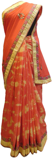 Orange Tie & Die Designer PartyWear Georgette (Viscos) Pearl Zari Stone Thread Hand Embroidery Work Saree Sari
