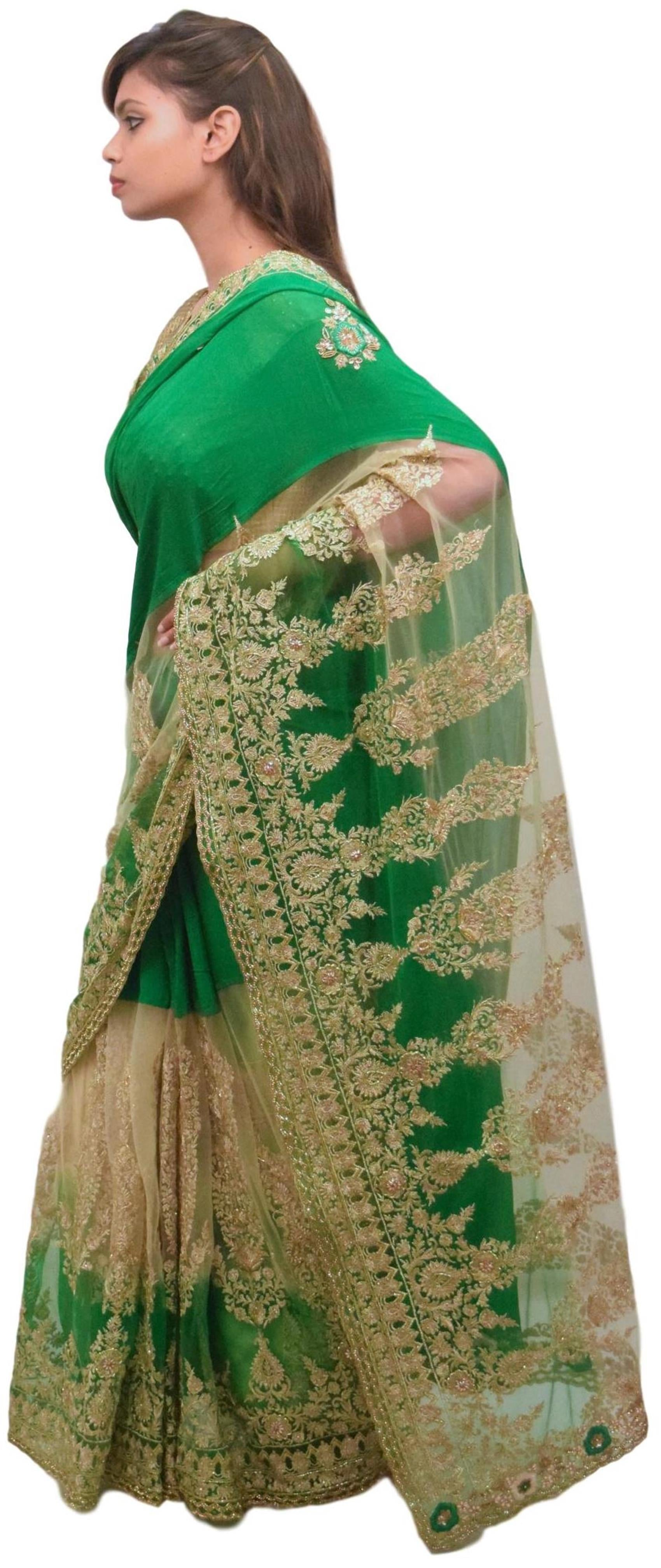 Green & Beige Designer PartyWear Bridal Georgette (Viscos) & Net Zari Thread Cutdana Sequence Stone Beads Hand Embroidery Work Wedding Saree Sari