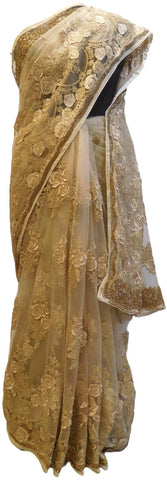 Beige Designer PartyWear Bridal Net Stone Zari Thread Cutdana Hand Embroidery Work Wedding Saree Sari