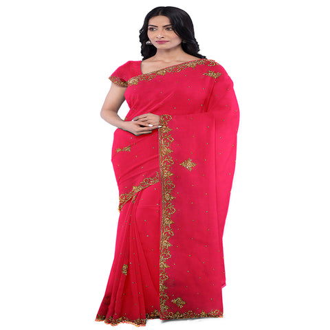 Pink Designer Wedding Partywear Georgette Zari Hand Embroidery Work Bridal Saree Sari With Blouse Piece C277