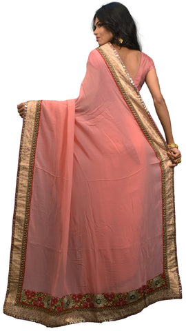 Pink Designer Georgette (Viscos) Hand Embroidery Zari Sequence Thread Work Saree Sari AKC623