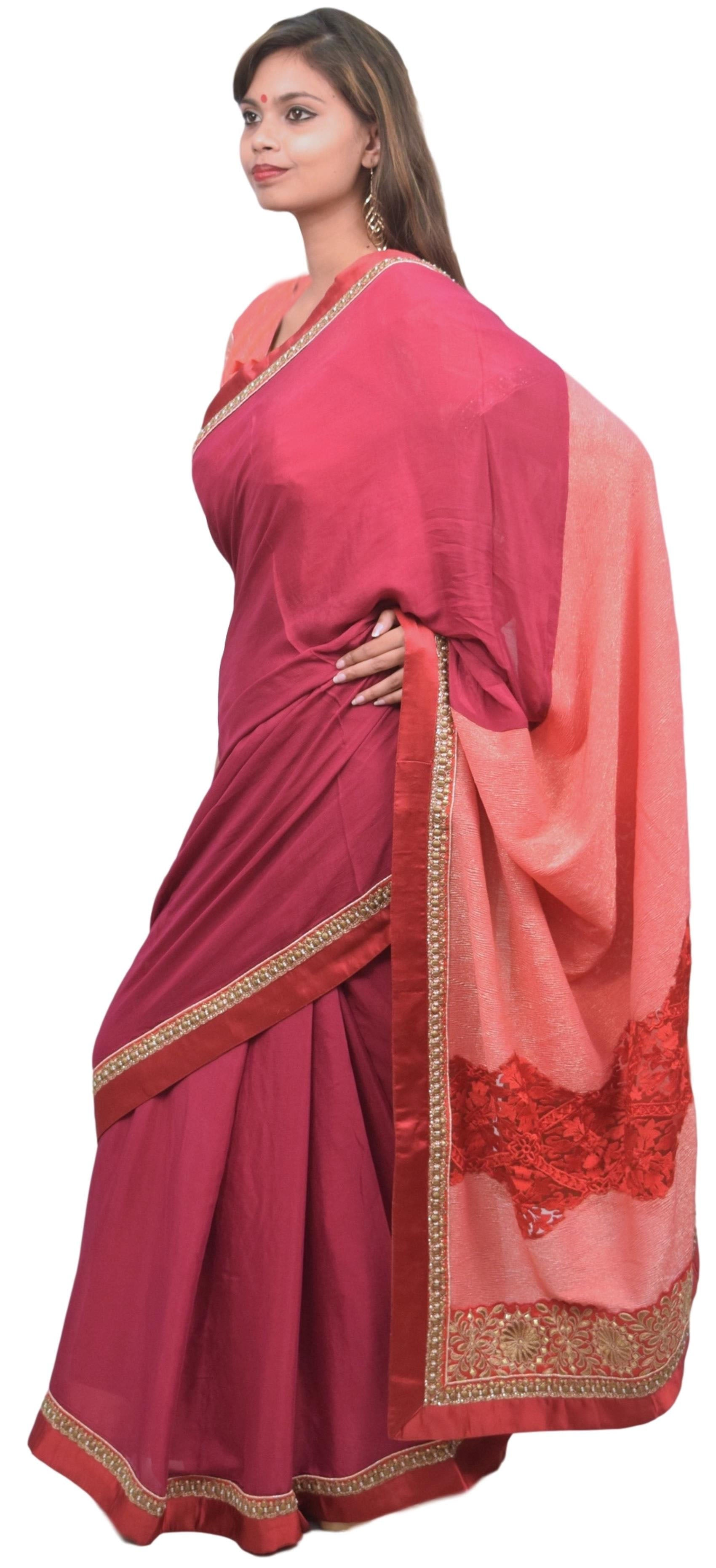 Pink & Wine Designer Georgette (Viscos) Hand Embroidery Zari Sequence Thread Stone Beads Work Saree Sari With Stylish Stitched Blouse