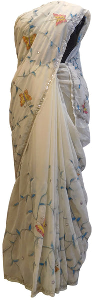 White Designer Georgette Hand Brush Floral Print Highlihted With Hand Embroidery Cutdana Sequence Work Saree Sari