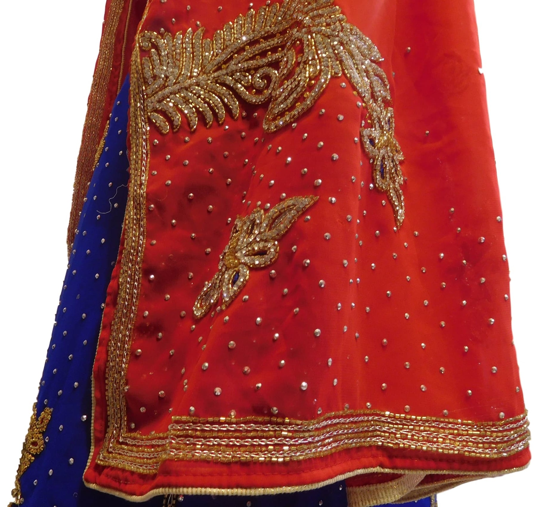 Red & Blue Designer Georgette Lahenga Style Hand Embroidery Cutdana Zari Thread Stone Work Saree Sari