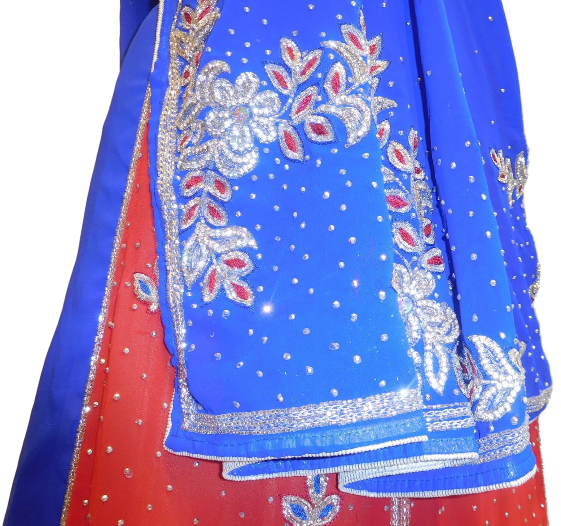 Blue & Red Designer Georgette Lahenga Style Hand Embroidery Cutdana Zari Thread Stone Work Saree Sari