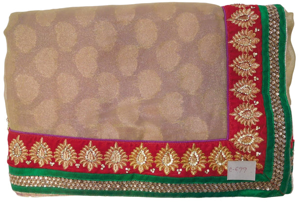 Beige & Purple Designer Georgette & Silk Hand Embroidery Zari Stone Work Saree Sari