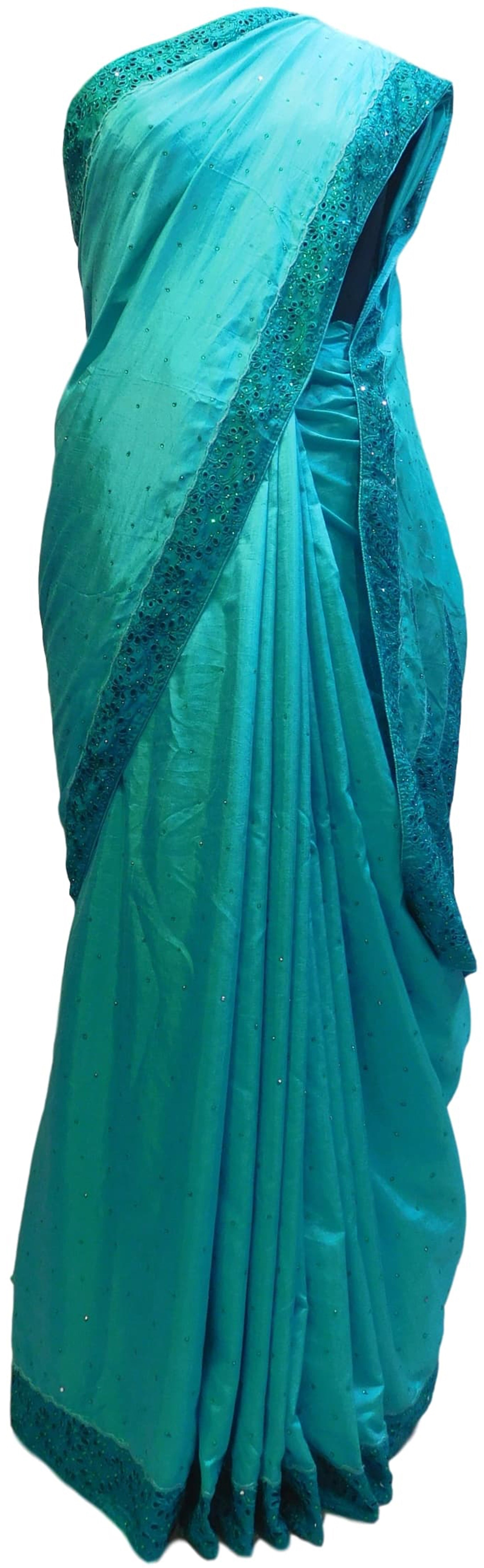 Turquoise Designer Silk Hand Embroidery Thread Stone Work Saree Cutwork Sari
