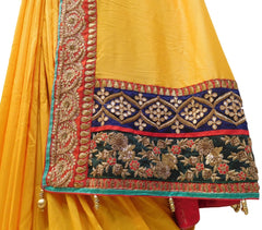 Yellow Designer Pure Satin Silk Hand Embroidery Zari Bullion Sequence Beads Thread Gota Pearl Work Saree Sari
