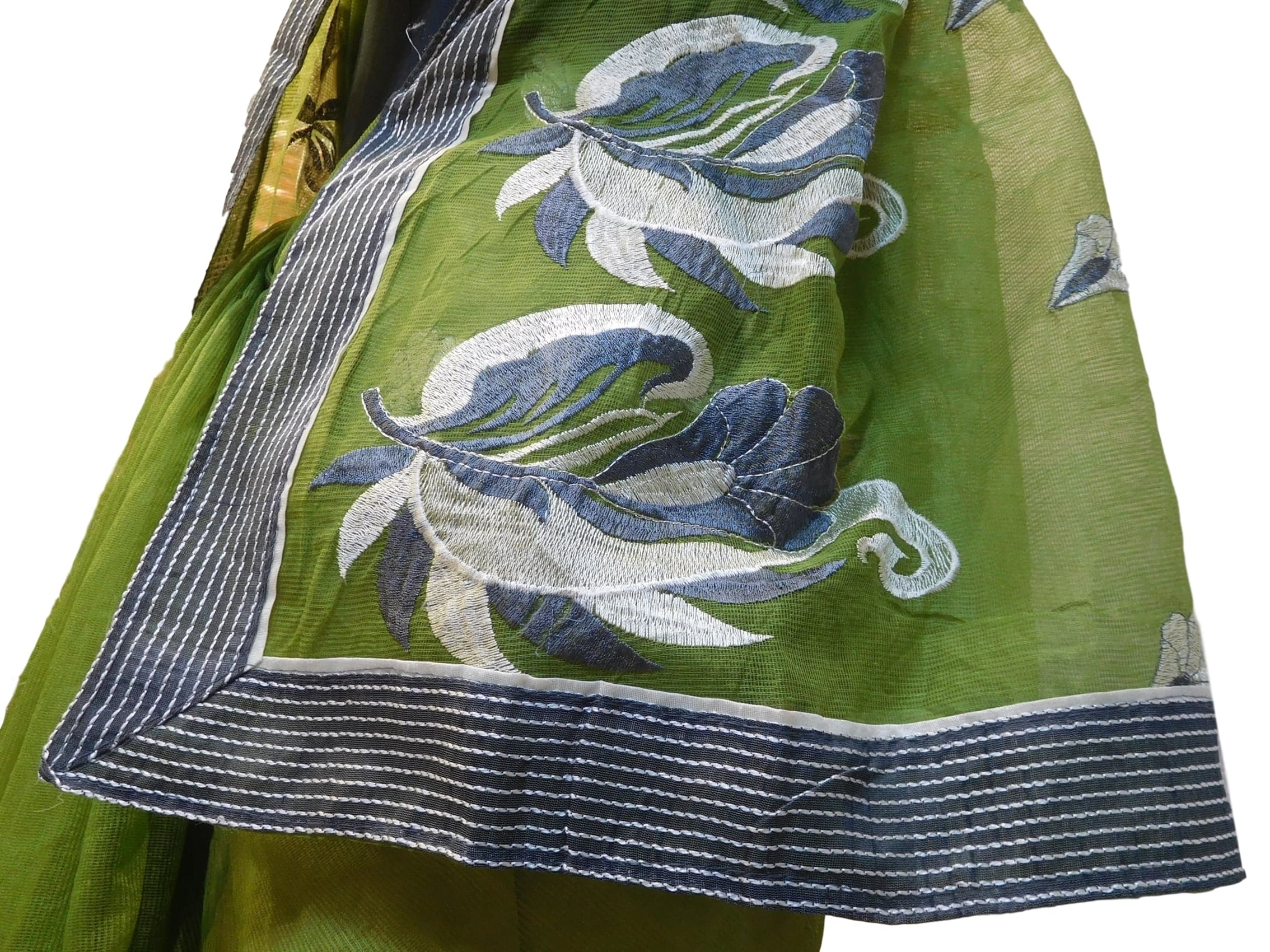 Mehendi Green Designer Pure Supernet (Cotton) Hand Embroidery Thread Work Saree Sari