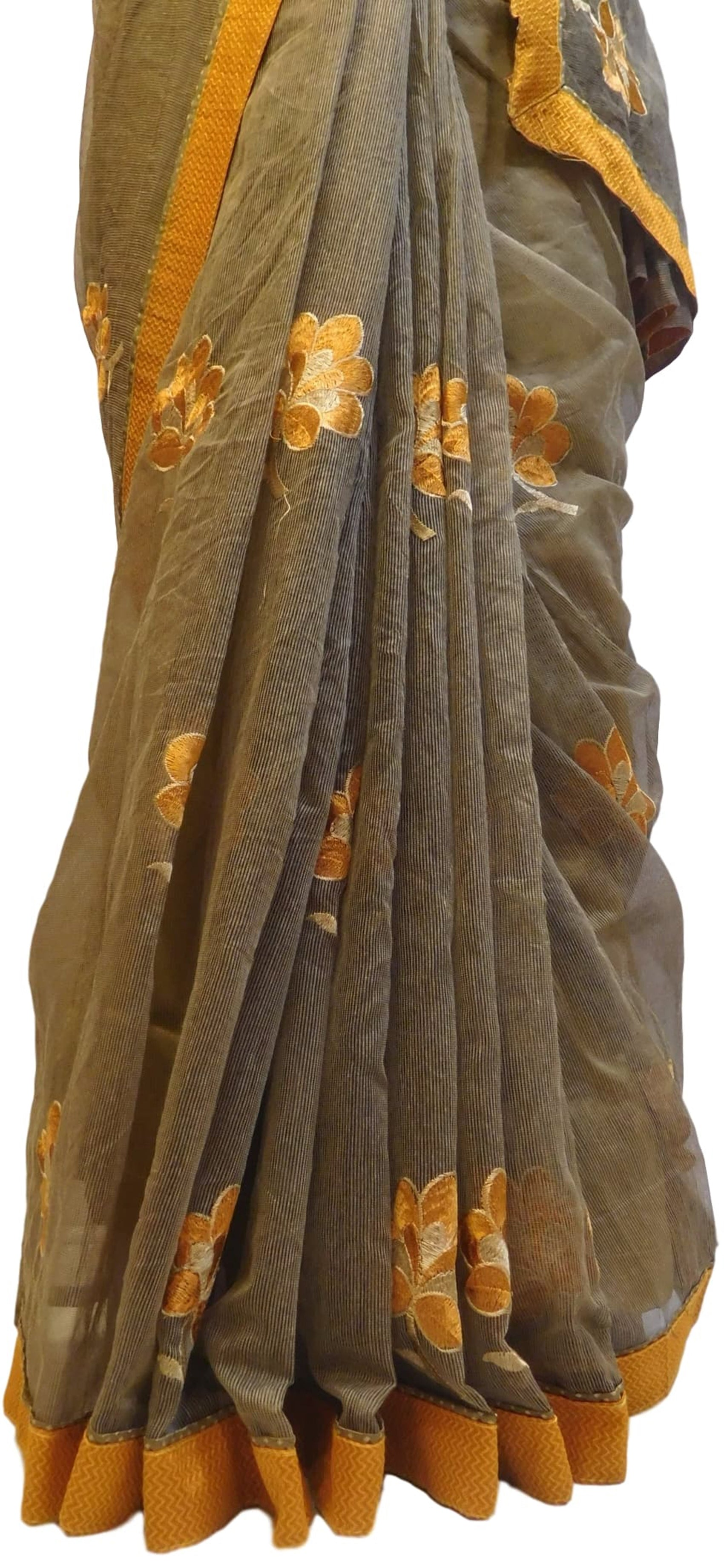 Grey Designer Pure Supernet (Cotton) Hand Embroidery Thread Work Saree Sari With Orange Taping