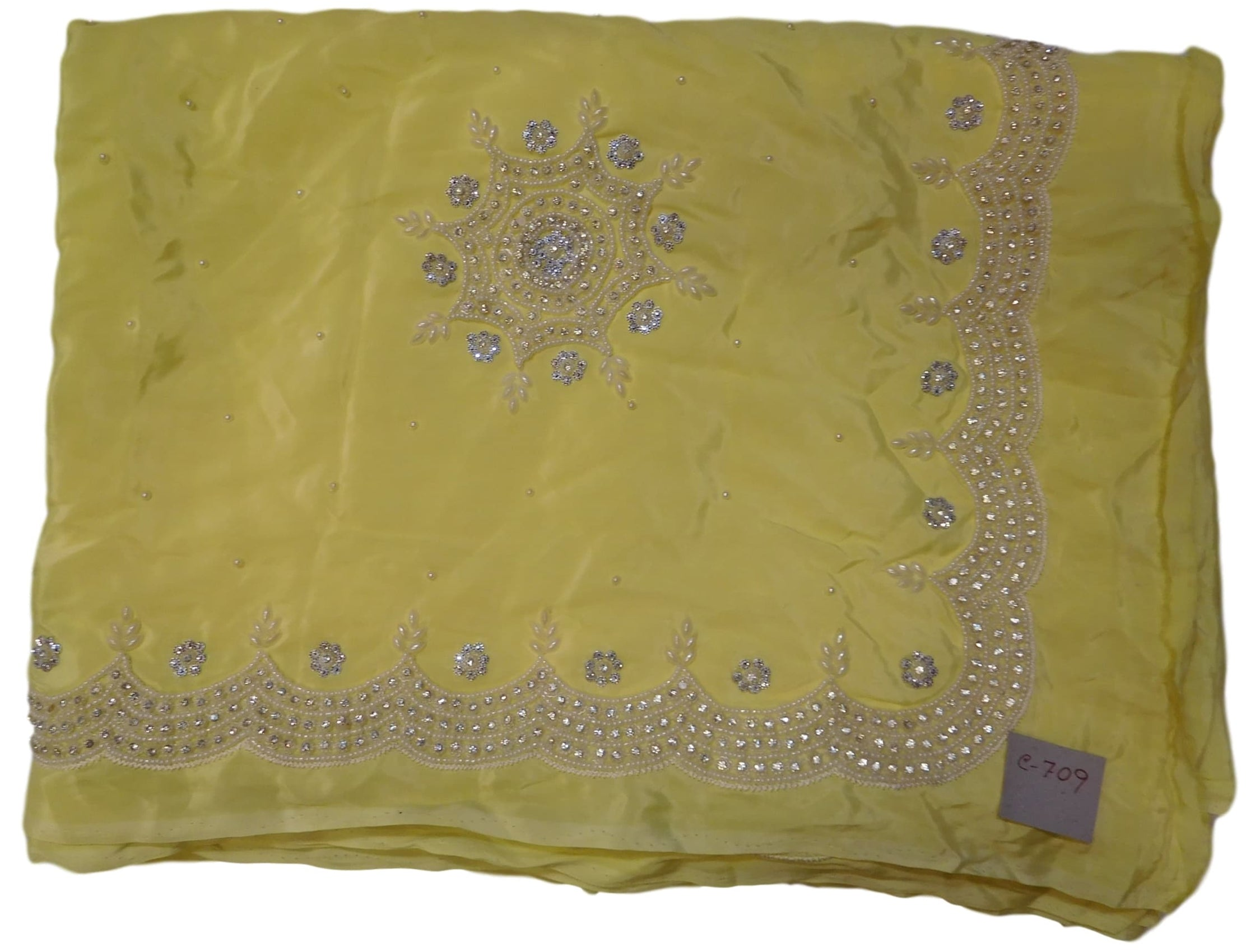 Yellow Designer Crepe (Chinon) Hand Embroidery Pearl Beads Stone Work Saree Cutwork Border Sari