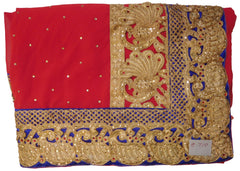 Red Designer Georgette Hand Embroidery Zari Stone Work Saree Sari With Blue Taping