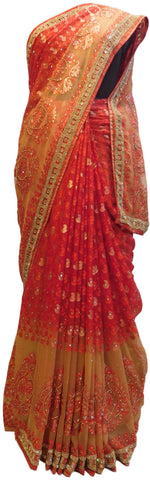 Red & Beige Designer Brasso Hand Embroidery Beads Stone Work Saree Sari