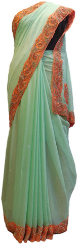 Sea Green Designer Chiffon Hand Embroidery Thread Cutdana Beads Stone Work Saree Sari