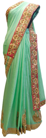 Sea Green Designer Crepe (Chinon) Hand Embroidery Sequence Zari Bullion Thread Cutdana Beads Stone Work Bridal Wedding Saree Sari