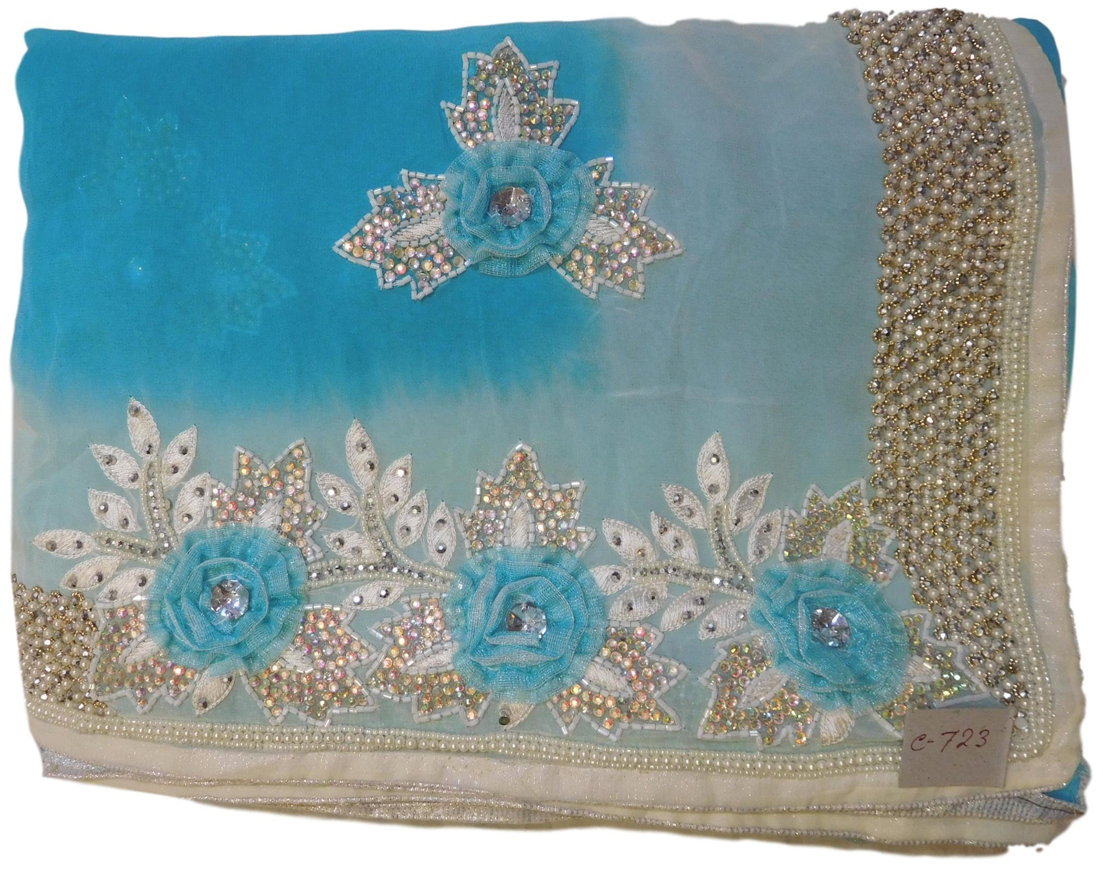 Blue & White Designer Georgette (Viscos) Hand Embroidery Thread Cutdana Pearl Beads Stone Work Saree Sari