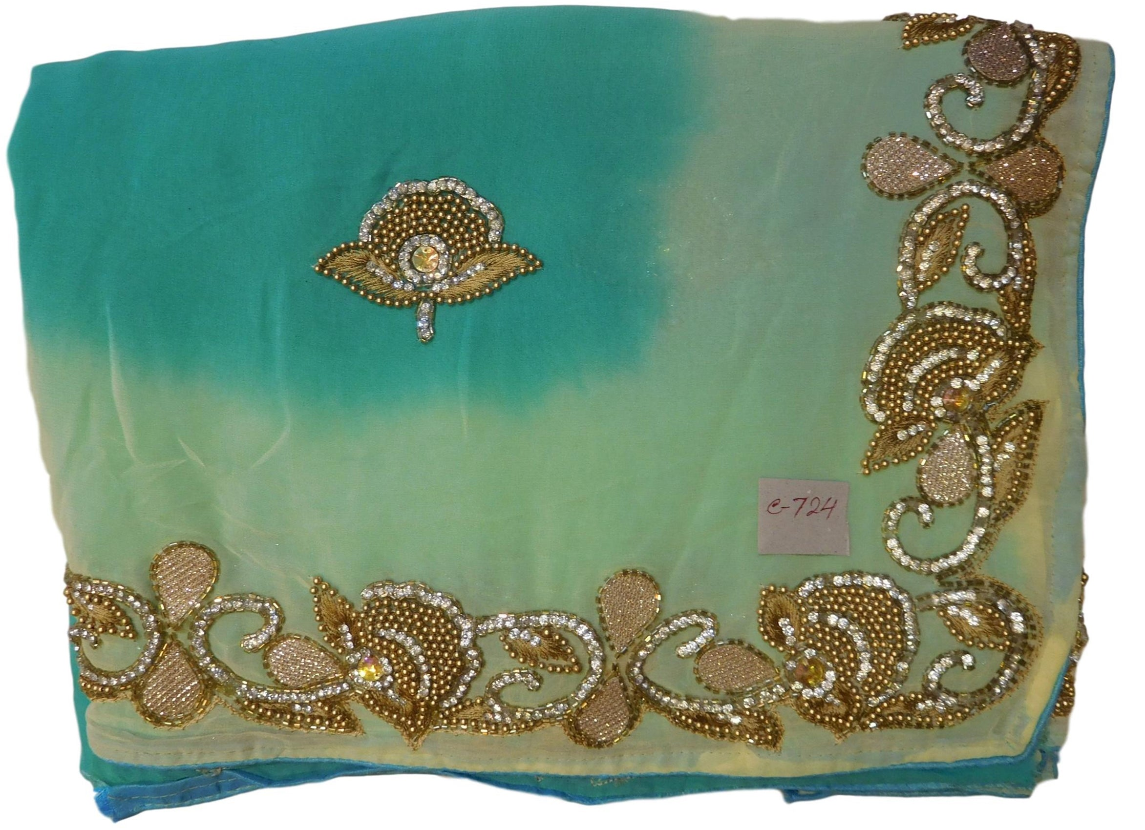 Turquoise & Cream Designer Georgette (Viscos) Hand Embroidery Beads Cutdana Thread Stone Work Saree Sari