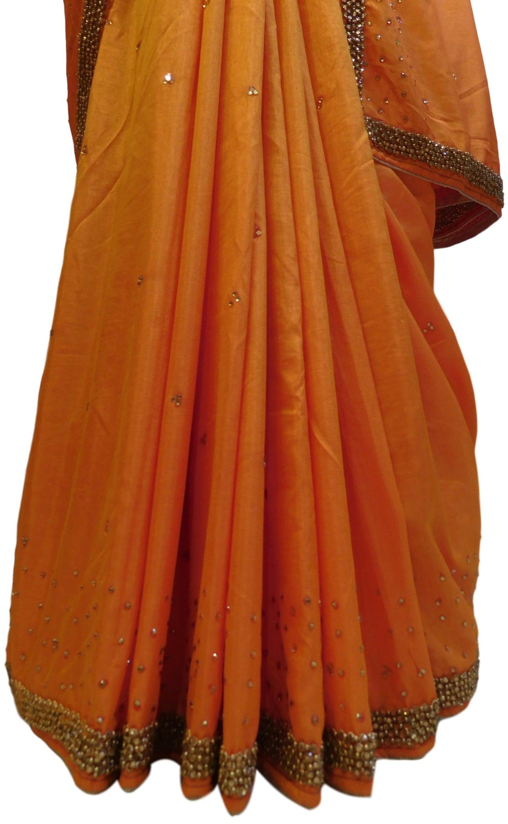 Peach Designer Silk Hand Embroidery Beads Stone Work Saree Sari
