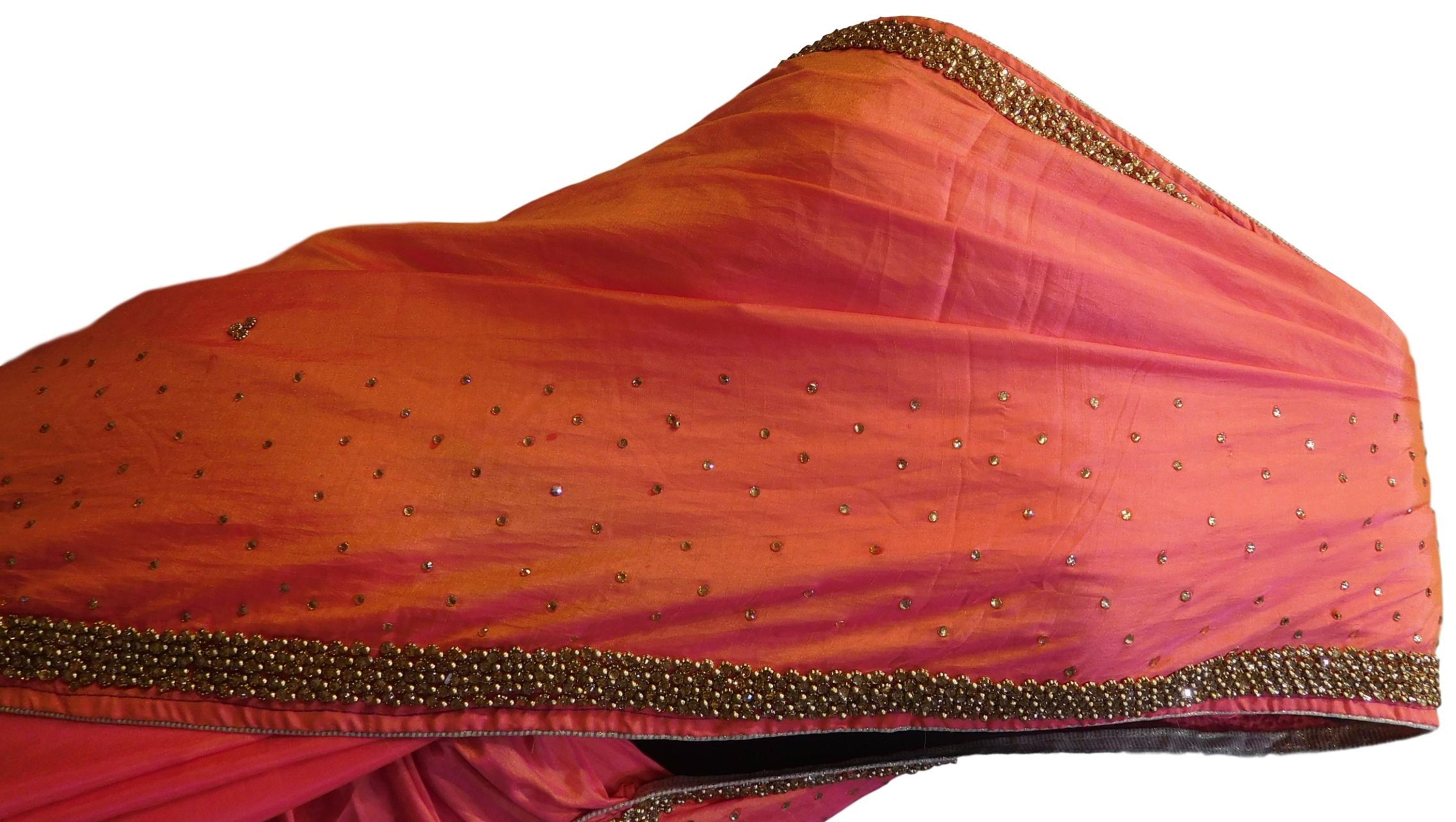 Gajari Designer Silk Hand Embroidery Beads Stone Work Saree Sari