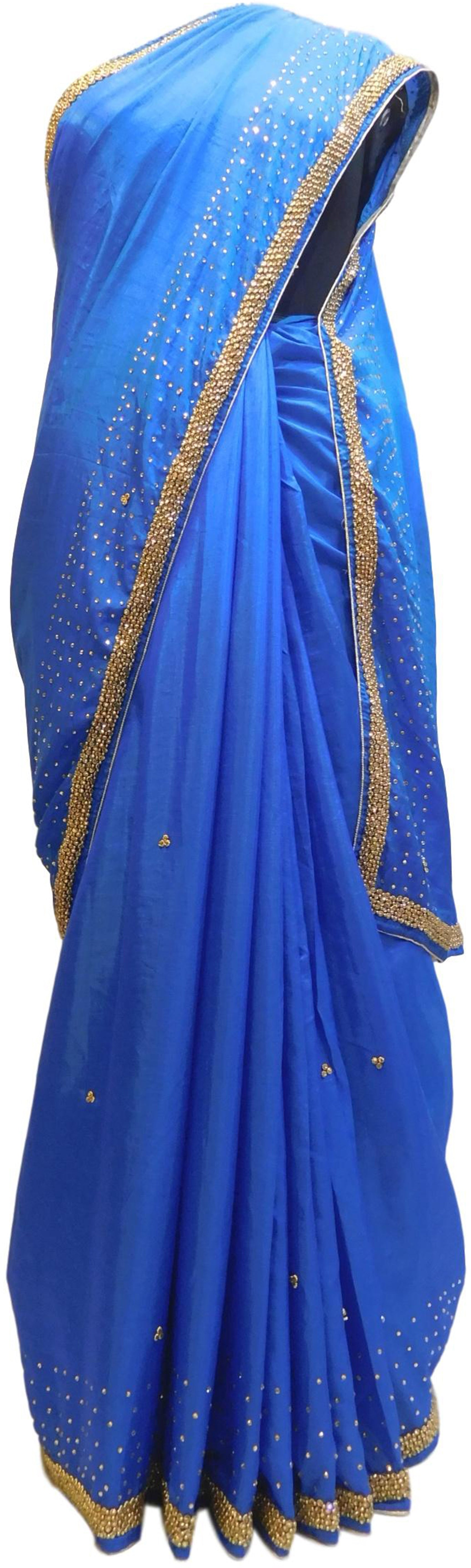 Blue Designer Silk Hand Embroidery Beads Stone Work Saree Sari