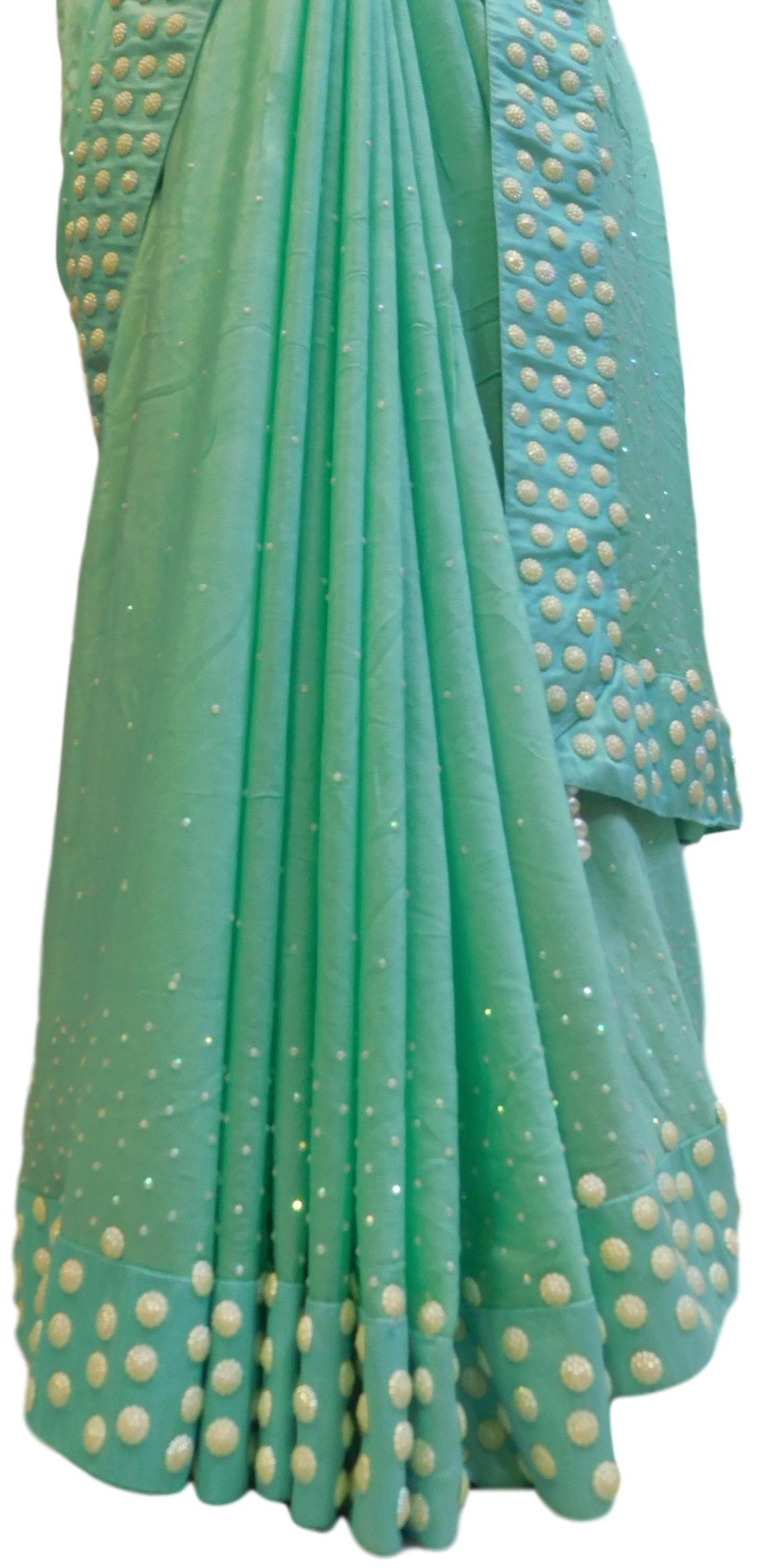 Turquoise Designer Georgette (Viscos) Hand Embroidery Beads Stone Work Saree Sari