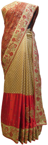 Red & Cream Designer Silk & Net Hand Embroidery Zari Bullion Thread Cutdana Beads Stone Work Bridal Wedding Saree Sari